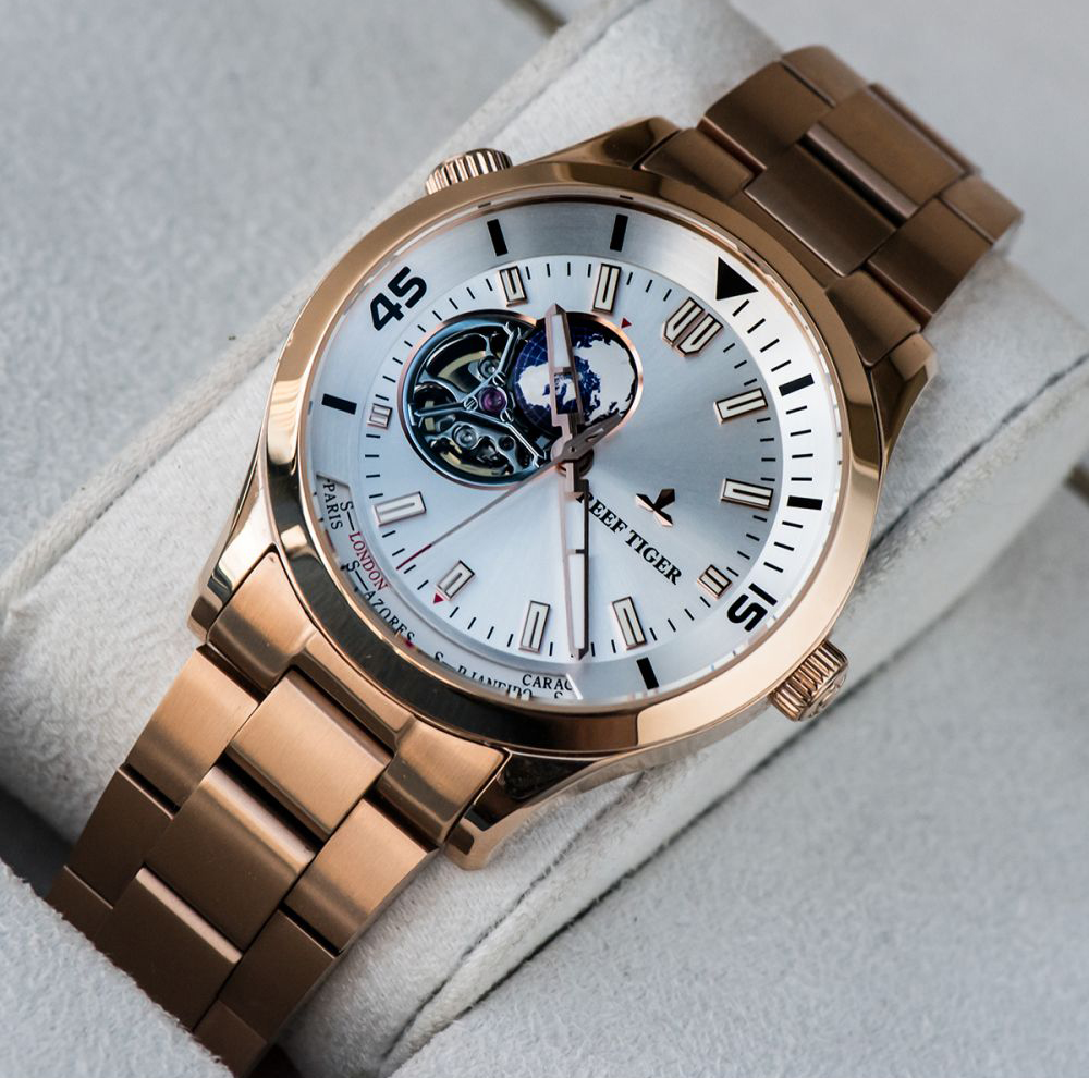 montre or rose homme